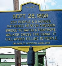 A swingbridge crossed the Erie Canal at Albion before the Modern Barge Canal enlargement