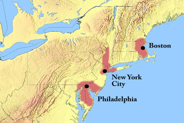 Boston, Philadelphia and New York were all nearly the same size when the Erie Canal was begun in 1817.
