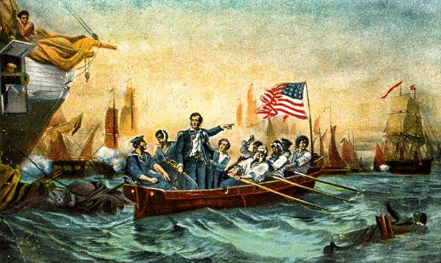 Commodore Perry at the Battle of Lake Erie in the War of 1812