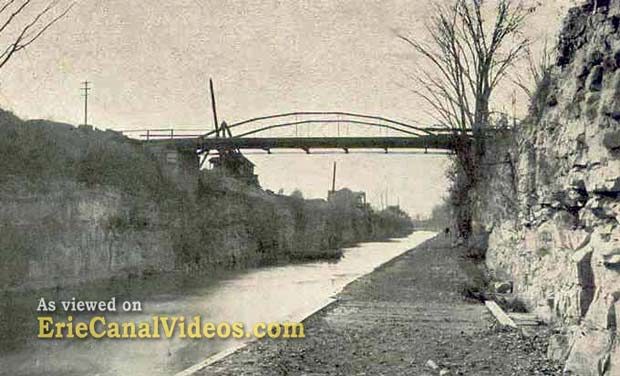 This view of the deep cut from the towpath was taken just before work began on the modern NYS Barge Canal enlargement (1905-1918).