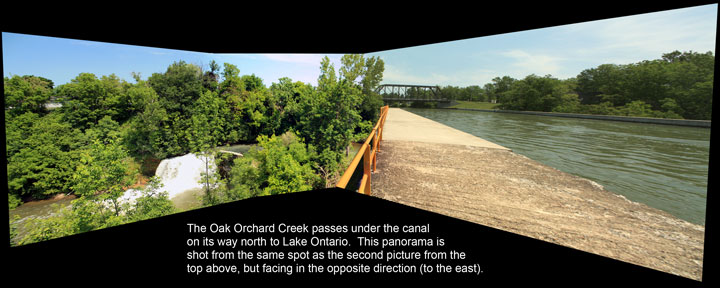 The Oak Orchard Creek passing under the Erie Canal at Medina