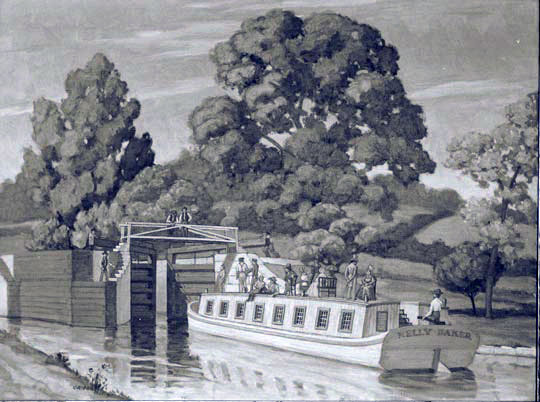 A packet boat entering a lock of the improved Erie (completed ca 1862)