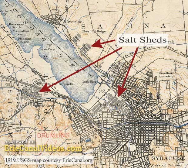 A map of Syracuse showing the locations of salt sheds around Onondaga Lake.
