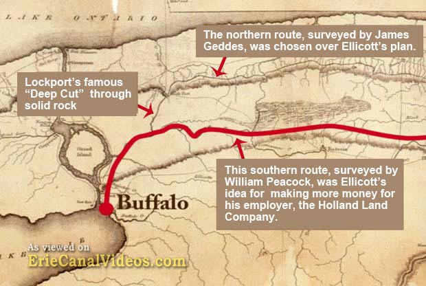 Joseph Ellicott was being a loyal employee to recommend that the Erie Canal follow this southern route.
