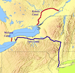 The American and Canadian canals built soon after the War of 1812 ended